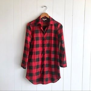 BB Dakota Red/Black Plaid Button Down Tunic